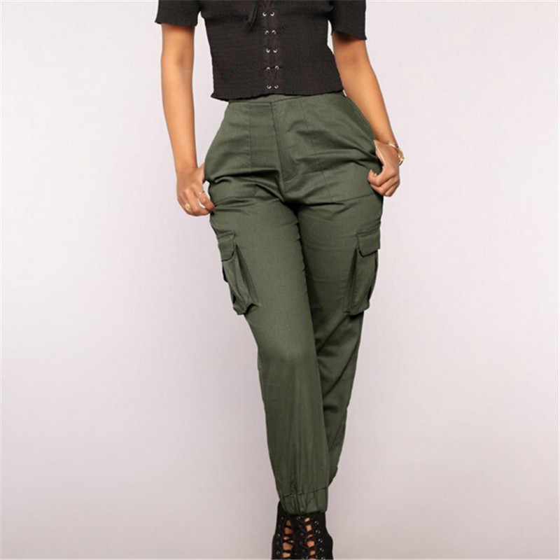 女性スキニーストリート貨物パンツ固体ハイウエスト巾着弾性ズボン女性ストレッチパンツドロップシッピング