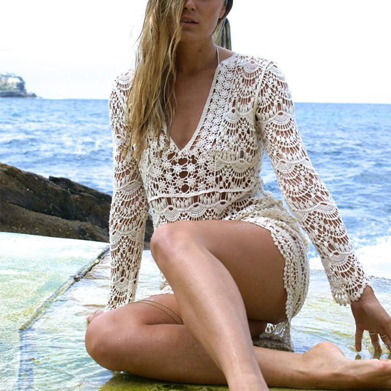 Beach Cover up White Dress Crochet 1