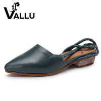 2018 VALLU Leather Shoes Women Sandals Pointed Toes Square Low Heels Back Strap Slingback Sandals