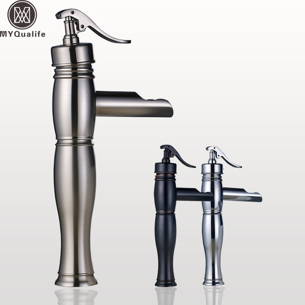 все цены на Deck Mounted Waterfall Basin Faucet Single Lever Brass Hot and Cold Vanity Sink Mixer Taps Short/Tall Vessel Sink Crane Cock онлайн