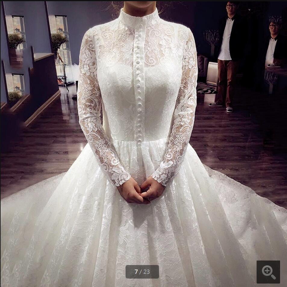 New Design Wedding Gowns: New Design Ball Gown High Neck White Lace Wedding Dress