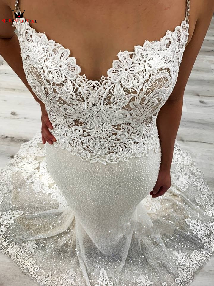 Custom Made Mermaid V neck Tulle Lace Appliques Sexy Luxury Wedding Dress Bridal Gowns 2019 New