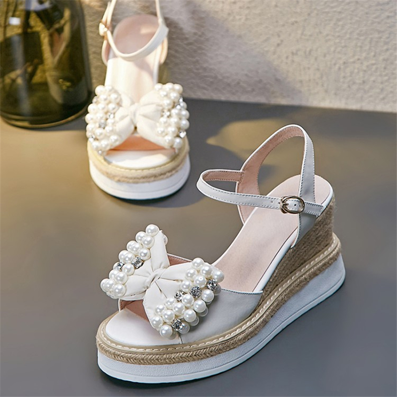 MSSTOR String Bead Butterfly-knot Platform Shoes Peep Toe Off White Buckle Strap Casual Sweet Summer Sandals Crystal High Heels