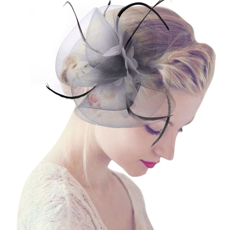 31114f01 Women Fascinator Headwear Hat Wedding Party Hairpin Feather Floral Tiaras  New gai