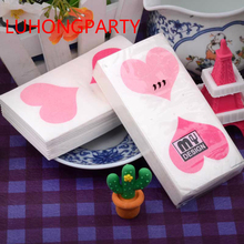 5packs 50pcs pink rose Heart Love Printed small napkin paper toilet tissue party handkerchief weddin