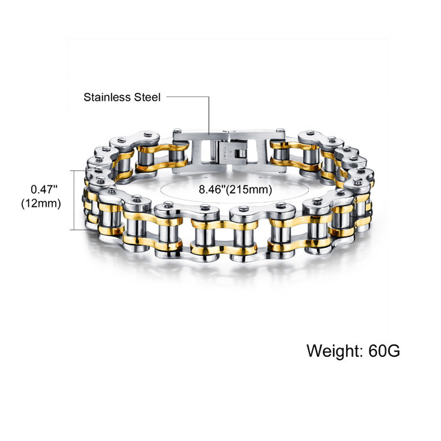 Biker 316L Stainless Steel Mens Bracelet Fashion Sports Jewelry Bike Bicycle Chain Link Bracelet Casual Jewellery GS781