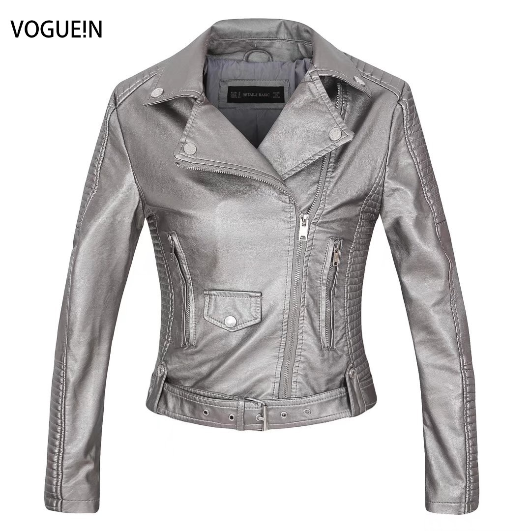VOGUEIN New Womens Casual Long Sleeve Faux   Leather   PU Jacket Coat Outwear 4 Sizes Wholesale