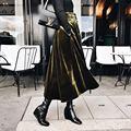 [Twotwinstyle] 2017 primavera botones larga de terciopelo con cinturón mujeres falda nueva moda streetwear 2 colores
