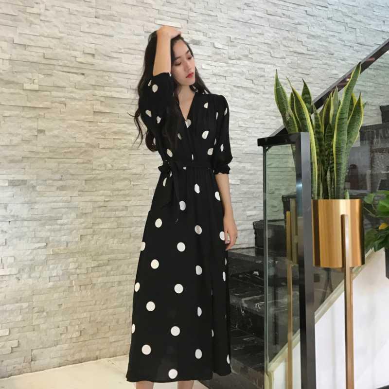 SuperAen летнее женское платье корейский стиль Мода v-образный вырез женское длинное платье повседневное Половина рукава платье в горошек женский новый 2018