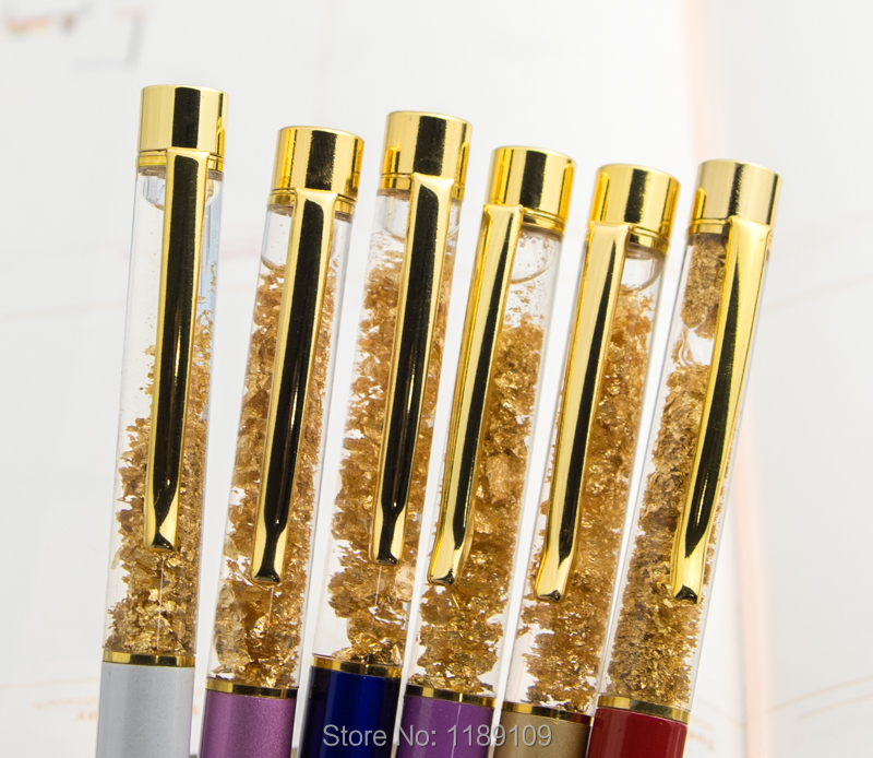 Stationery Metal Gold Foil Ballpoint Pen Luxury Pen Golden Ballpoint School Supplies Office Accessories Oily Refill 0 7 in Ballpoint Pens from Office School Supplies