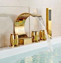 Золотой Мода 5 ШТ. Латунь Ванной Ванна Кран Смесителя и Водопад Носик + Ручной Душ + Три Handhels