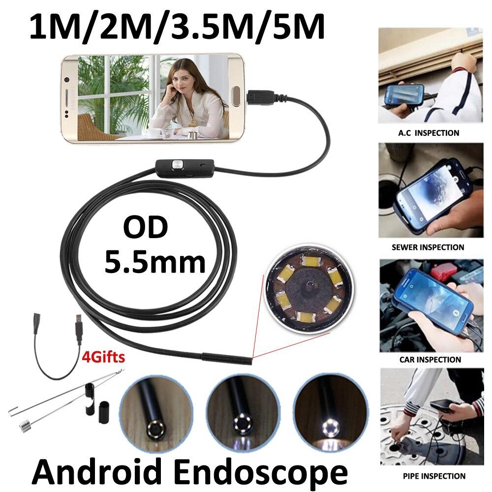 5.5mm Lens MircoUSB Android OTG USB Macchina Fotografica Dell'endoscopio 1 M 2 M 3.5 M 5 M Impermeabile Del Serpente Del Tubo ispezione Android USB Periscopio Camera