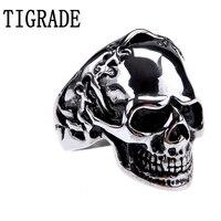 TIGRADE Fashion Jewelry Gothic Skull Biker Stainless Steel Mens Ring Punk Skeleton Male Rings