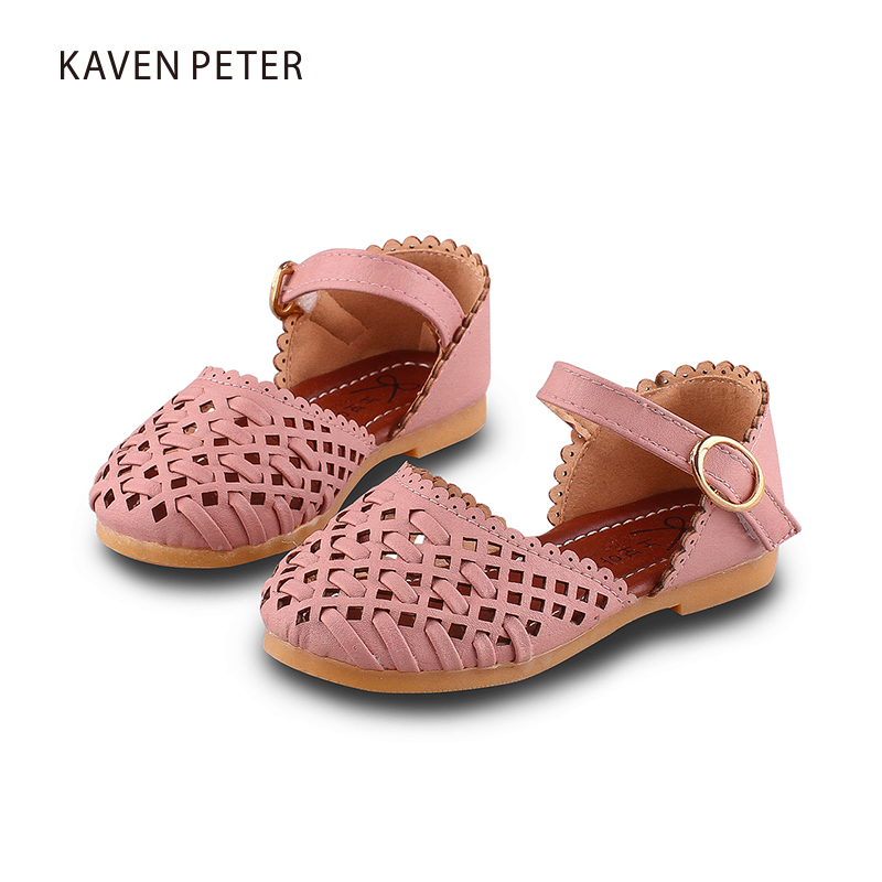 Girl shoes summer beach sandals kids woven shoes flat sandals children orthopedic footwear chaussure fille pink blue white color