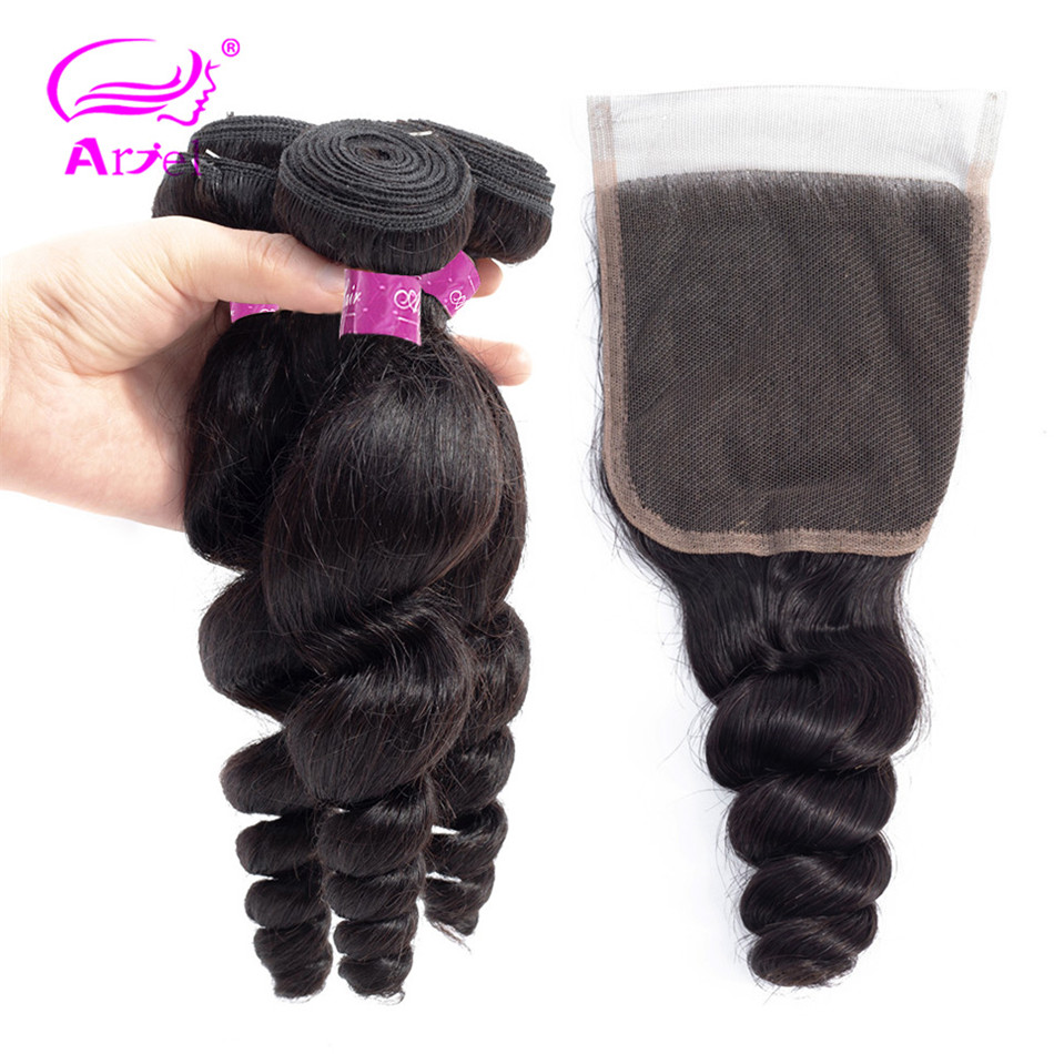 ARIEl Loose Deep Wave Bundles With Closure Human Hair Bundles With Closure Peruvian Non Remy Hair