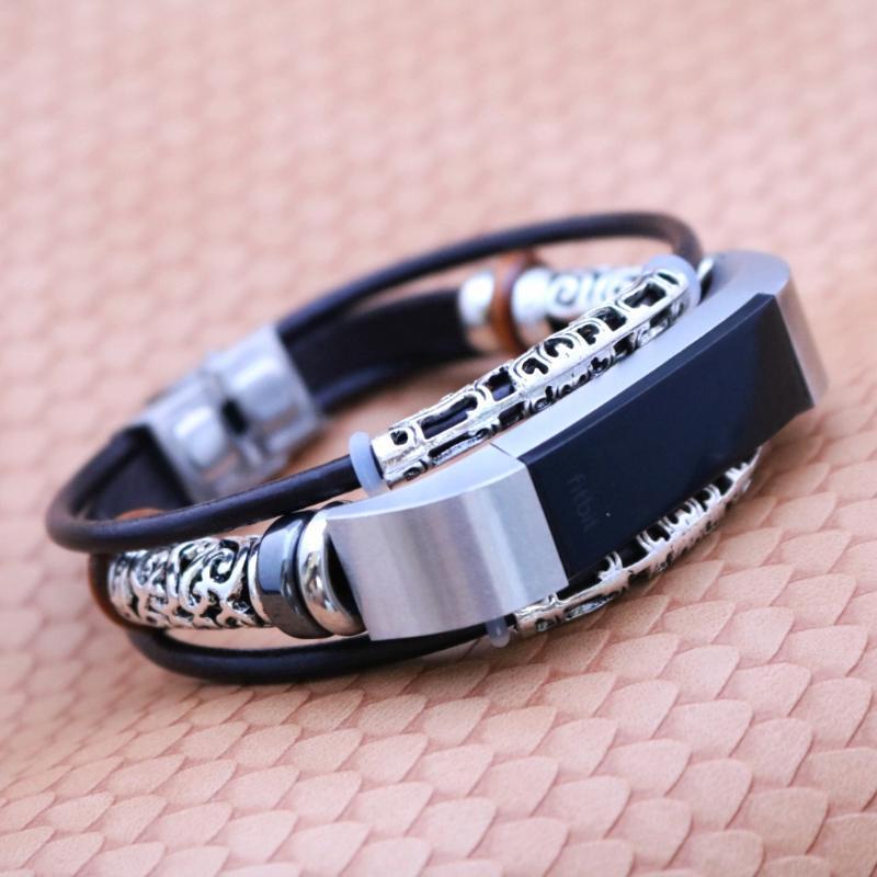 en ligne ici la qualité d'abord mode US $11.39 |New Arrival Leather Bracelet Fitbit Alta/Alta HR Strap Vintage  Black Circular band Dropship-in Charm Bracelets from Jewelry & Accessories  ...
