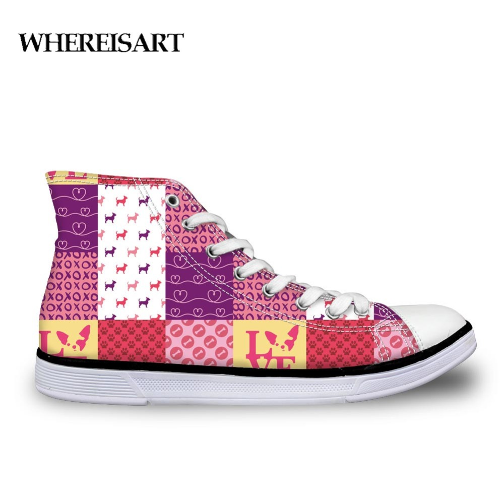 Hot Sale WHEREISART Chihuahua Print Canvas Shoes Men High Top Casual Student Comfortable Sneaker Leisure Shoes Kids Outdoor Lace Boots Up