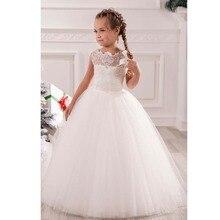 White Ivory First Communion Dresses Cute Little Girls pageant Dresses Tull Ball Gown Flower Girls Dress