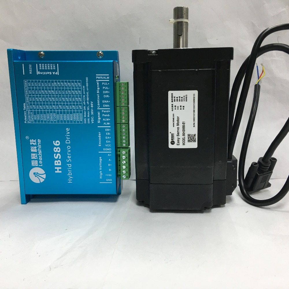 ES-D808(HBS86)andES-M23480(86HSM85-E1) Leadshine easy servo hybrid servo drive and motor for CNC router cnc cutting machine dcs810 leadshine digital dc brush servo drive servo amplifier servo motor controller up to 80vdc 20a new original