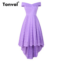 Tonval Purple High Low Hem Off Shoulder Sexy Lace Dress Women Fit and Flare Elegant Cocktail Party Night Midi Dresses