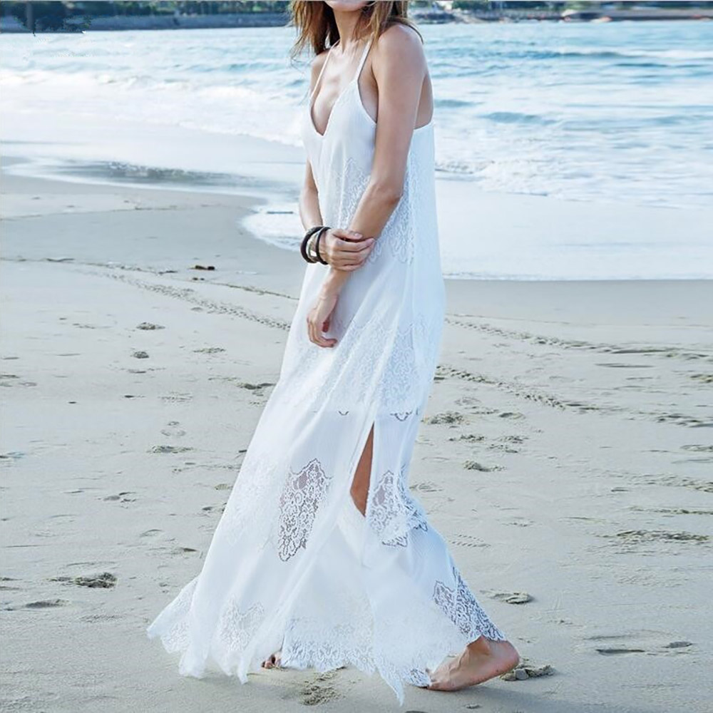 2018 Women Maxi Dresses Boho Vestidos Summer Beach Wear Cream Deep V ...