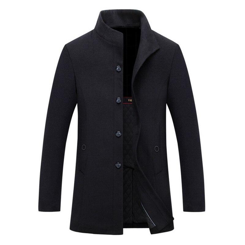 12ee171923017 new winter men warm black business overcoat wool long coat mens Stylish  woolen jacket stand collar