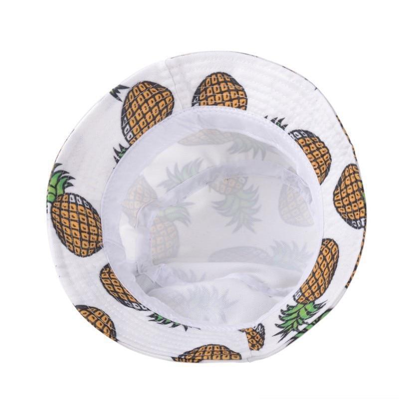 Новинка, модные милые летние белые Панамы с принтом ананаса, уличные Панамы для рыбалки с ананасом, солнцезащитные кепки для женщин и девочек