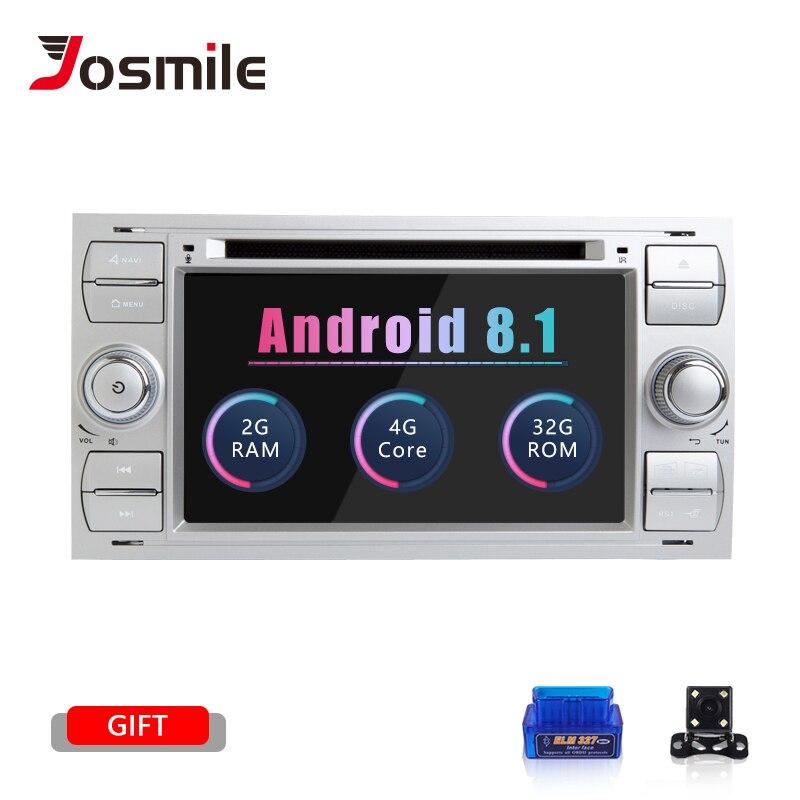 2 din Android 8.1 Jogador Do Carro DVD Para Ford Fiesta Foco Mondeo 2 4 C-Max-S Max fusão Trânsito Kuga Multimídia Rádio de Navegação