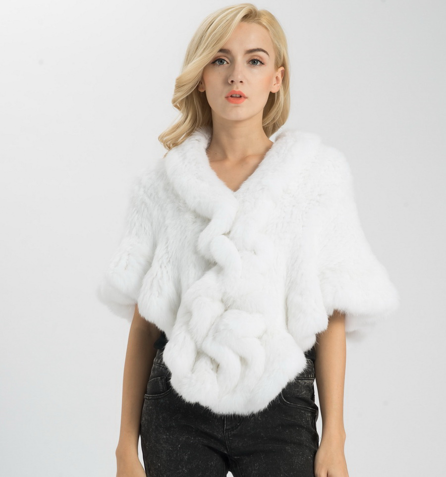 S1025 Wholesale Retail Thick Knitted Lady Real Rabbit Fur Poncho Or Women Fur Bride Shawl