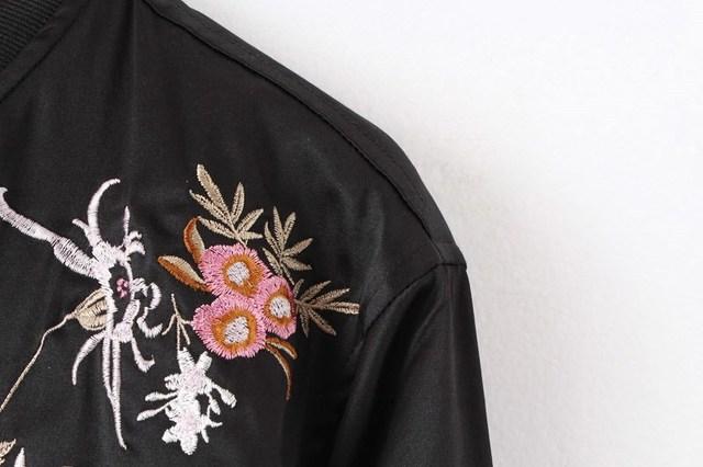 Phoenix Bird Embroidered Bomber Jacket