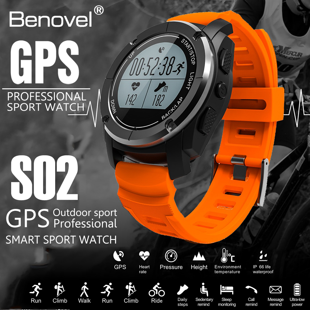 Benovel S02 Gps Smart Watch Sport Bluetooth Smartwatch Heart Rate Suunto Ambit3 Black Hr For Outdoor Sports Height Race Monitor Speed Running Band Fitness Tracker In Watches From