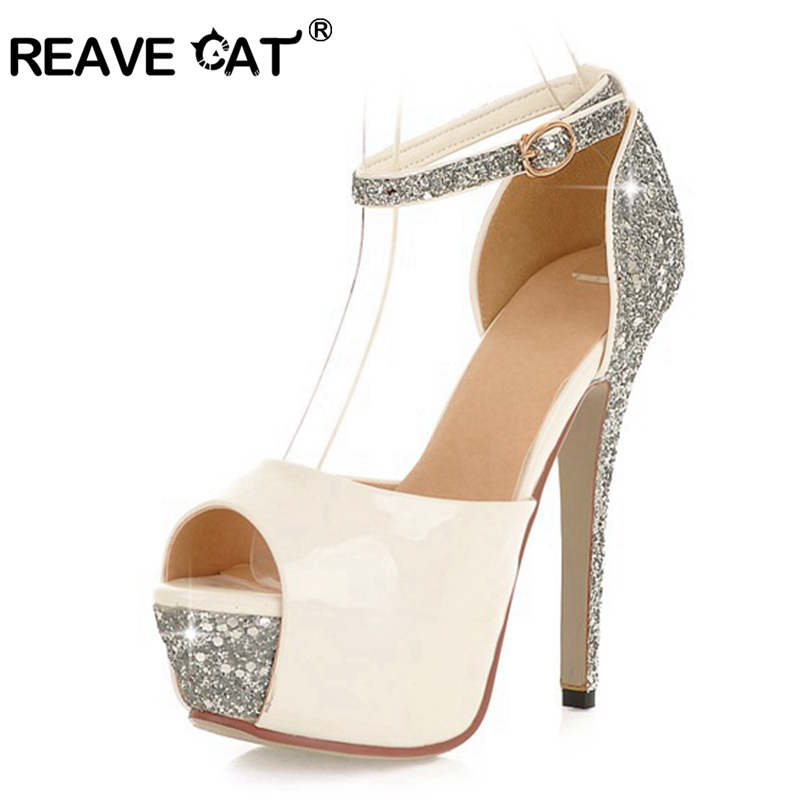 REAVE CAT Women Bridal Wedding High Heel Pumps Peep Toe Stiletto Thin Heels 13cm Platform Buckle Size 34-43 Silver Zapatos De Mu