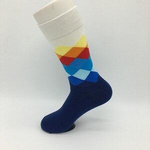 Image 5 - 10 ペア男性カラフルなハッピーソックスアーガイル三次元チューブ幾何おかしいコーマ綿の靴下ファッションデザイナースタイル