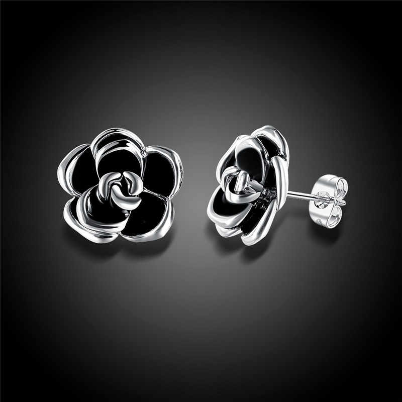 ROMAD goteo de flores pendientes de las mujeres negro Rosa Stud en aleación señoras Simple lindo pendientes de fiesta joyería oorbellen R4
