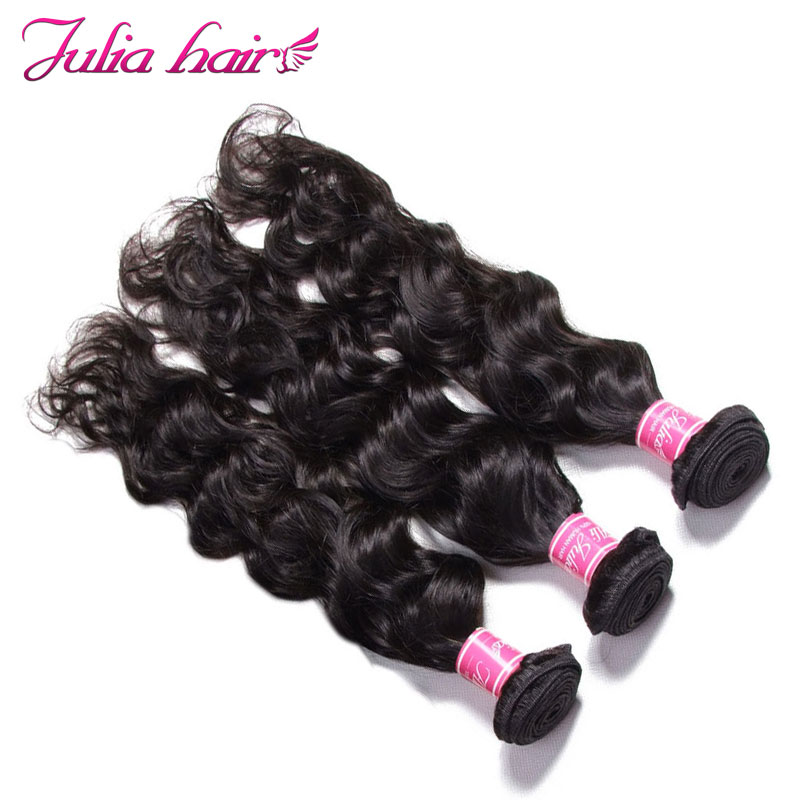 Ali Julia Hair 3 Bundles Brazilian Natural Wave Human Hair Weave Bundles 8 to 26 Inch