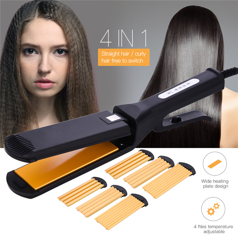 Interchangeable 4 In 1 Hair Straightener Corn Wave Wide Plate Hair Curling Iron Fluffy Waves Hair Crimper Corrugated Flat IronInterchangeable 4 In 1 Hair Straightener Corn Wave Wide Plate Hair Curling Iron Fluffy Waves Hair Crimper Corrugated Flat Iron
