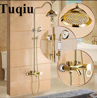 Shower Faucet Luxury Brass Rain Shower Set Dural Handle Wall Mount Gold Bathroom Faucet With Slide