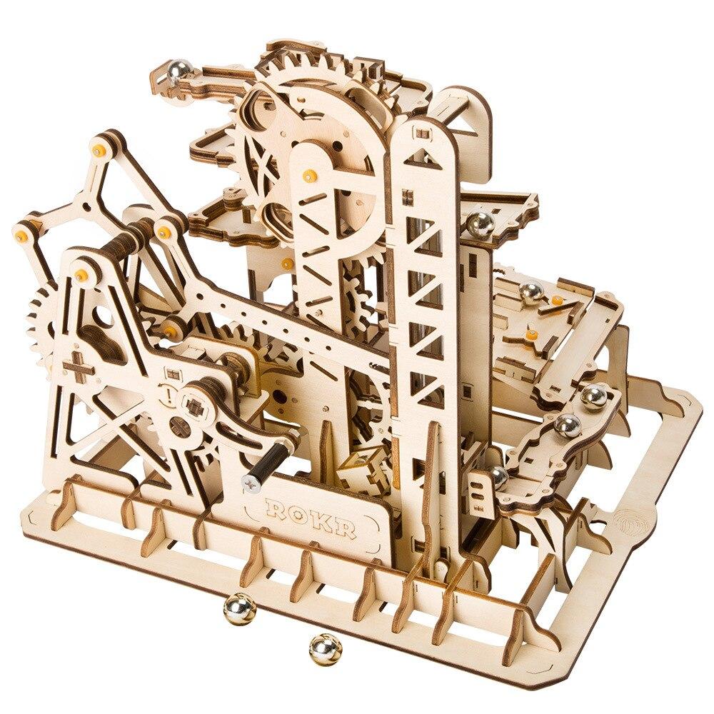 1 Set 3D bricolage assemblé en bois maison de poupée série vapeur tige jouets marbre course modèle construction Kits tour Coaster