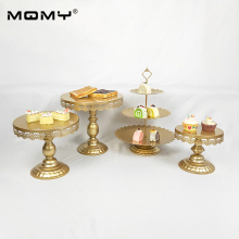 4Pcs Thin Disk Golden White Pink Cupcake Metal Dessert Crystal 3 Tier Wholesale Round Wedding Cake Stand Set