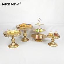 4Pcs Thin Disk Golden White Pink Cupcake Metal Dessert Crystal 3 Tier Wholesale Round Wedding Cake Stand Set
