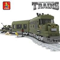 Model building kits compatible with lego MILITARY TRAIN 764 pcs 3D blocks Educational model building toys hobbies for children
