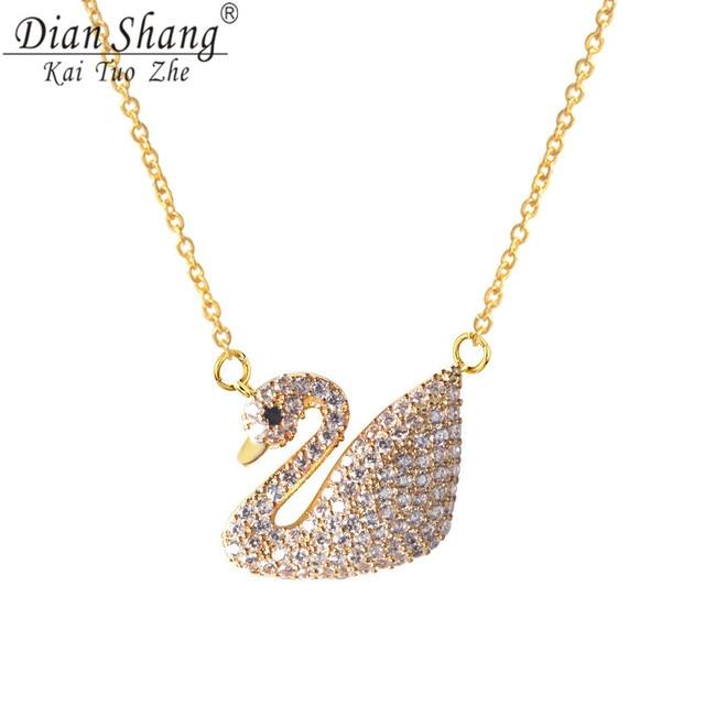 DIANSHANGKAITUOZHE Fashion Rhinestone Rose Gold Swan Charm Pendant