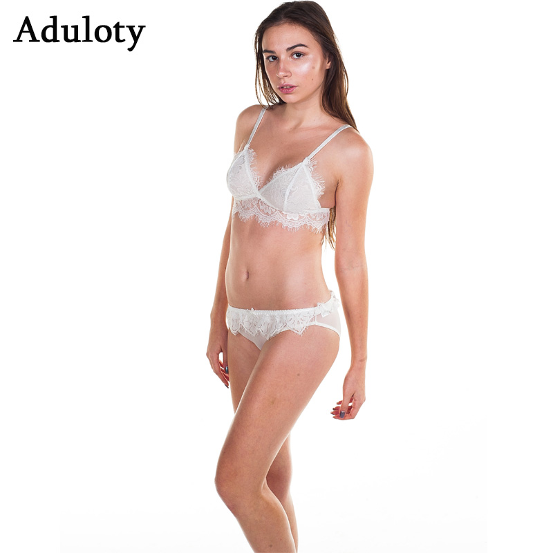 78d15264fc Banded Lace Triangle Bralette Set Sexy Semi Sheer Bra Panty Long Line Soft  Cup Plunge Brassiere Suit -in Bra   Brief Sets from Underwear   Sleepwears  on ...