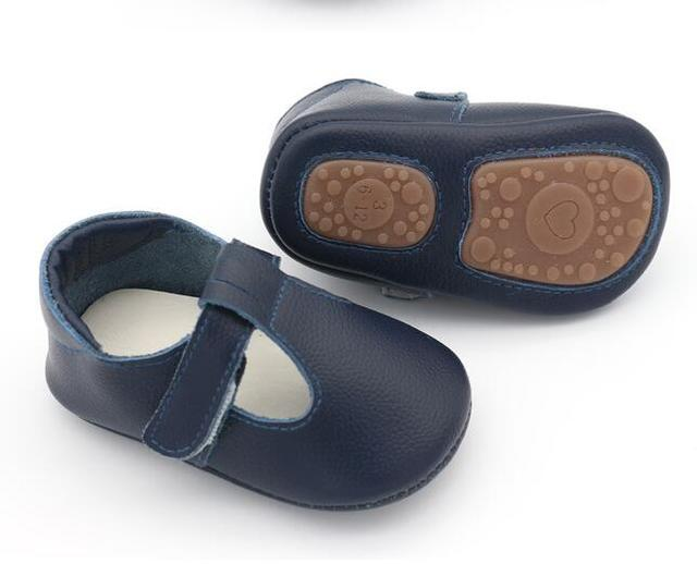 High quality genuine Leather Baby Moccasins Nonslip rubber sole Baby Shoes Newborn first walker mary jane Shoes 0-24M