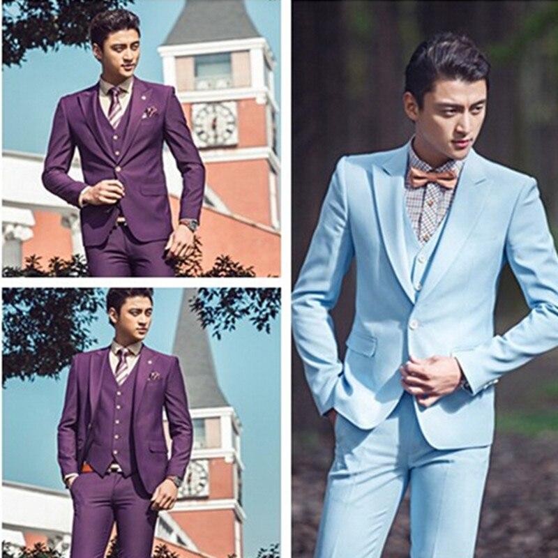 Light Blue Purple Wedding Men Suits Bridegroom Tuxedos Jacket+Pants+ ...