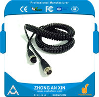 3 meters aviation plug vehicle Double shielded Spring cable 4 core aviation connector Audio and Vedio extension Spring cable