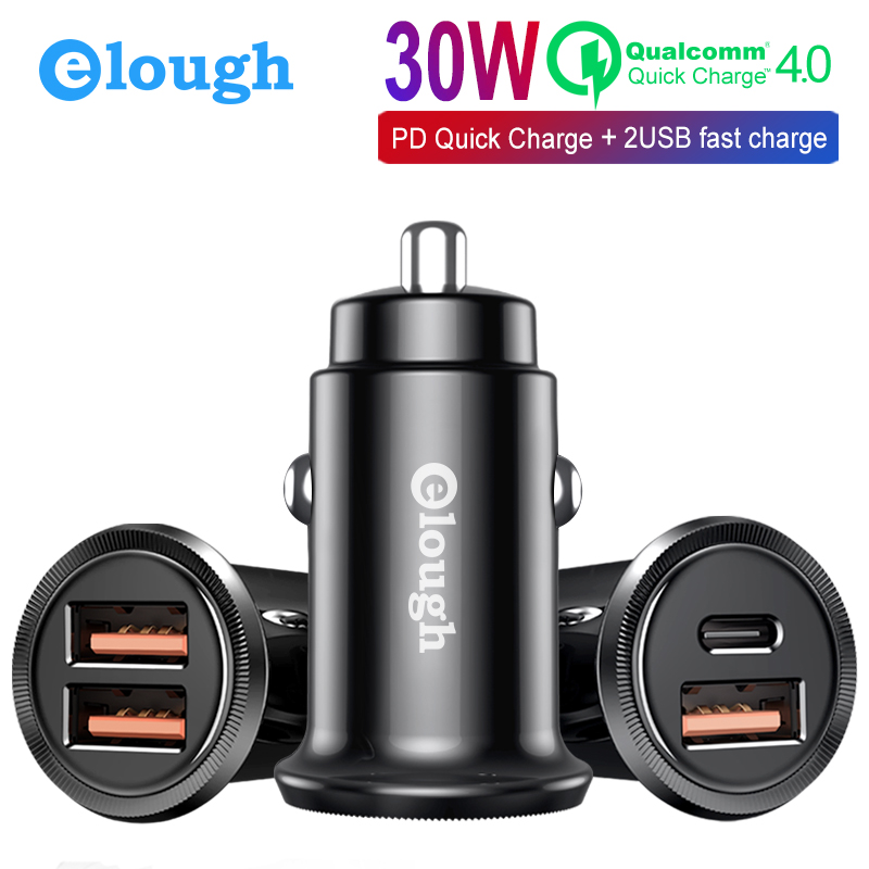Elough 30W Quick Charge 3.0 USB Car Phone Charger for iPhone Samsung Xiaomi Huawei Mini USB Type C PD Mobile Fast Car ChargerElough 30W Quick Charge 3.0 USB Car Phone Charger for iPhone Samsung Xiaomi Huawei Mini USB Type C PD Mobile Fast Car Charger