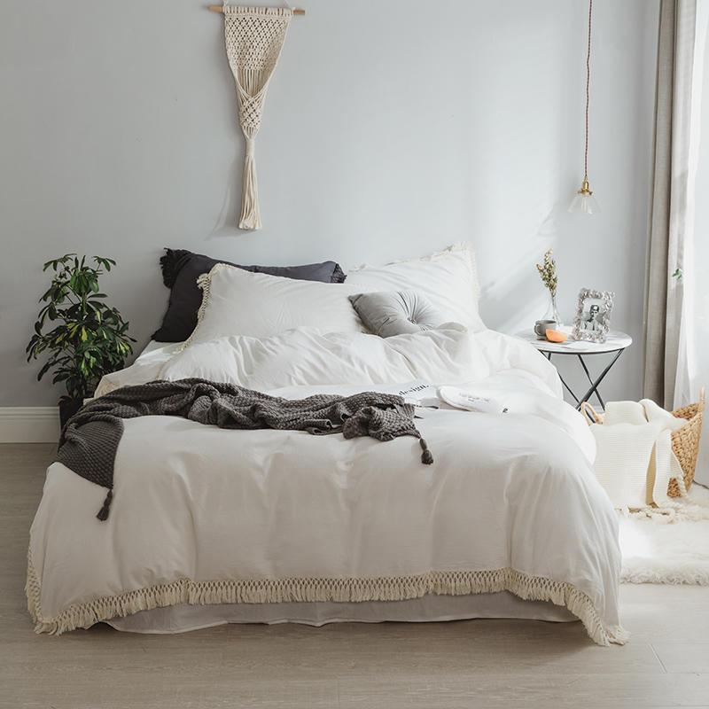 สีขาวสีชมพูสีเทาชุดเครื่องนอน Twin เตียง Queen ชุดผ้าฝ้ายผ้านวมผ้าคลุมเตียงแผ่นติดตั้ง parure de lit ropa de cama-ใน ชุดเครื่องนอน จาก บ้านและสวน บน   1