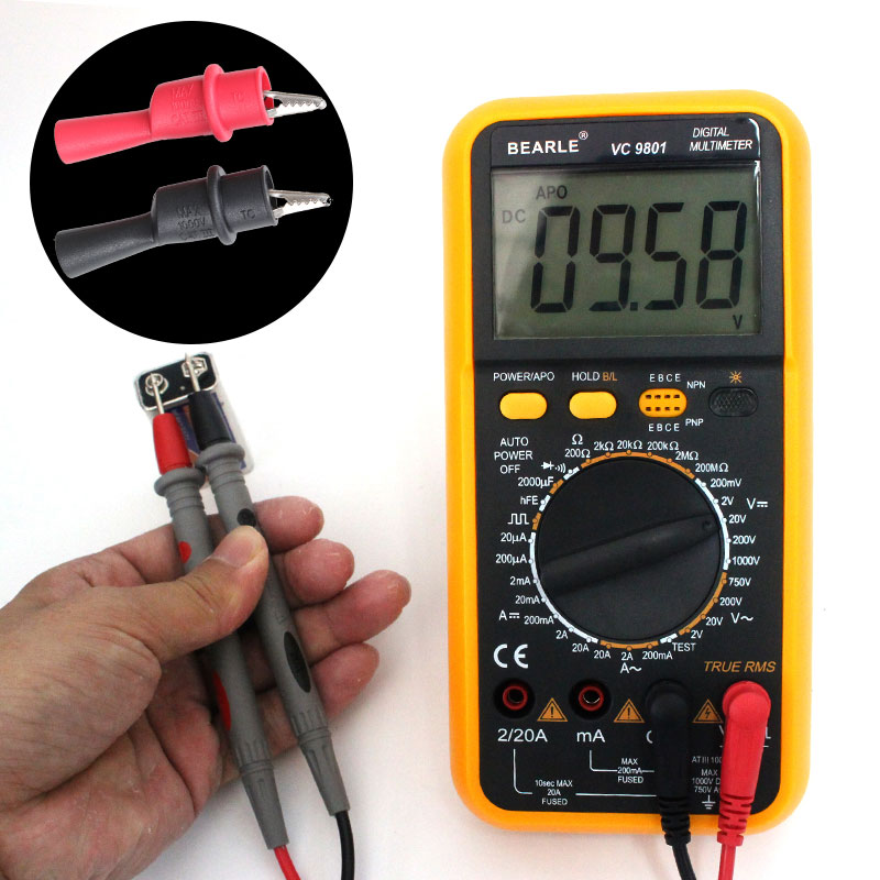 with alligator clip transistor tester AC / DC digital LCD display electronic handheld tester digital multimeter dt9205a lcd display multi fuction digital multimeter tester ac dc black