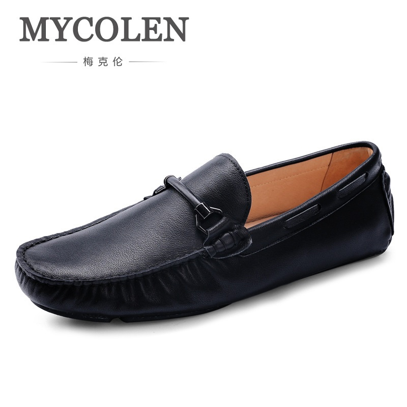 MYCOLEN Fashion Classic Casual Shoes For Men Driving Shoes Leather Loafers Breathable Boat Shoes Men Sapato Casual Masculino mycolen fashion brand men shoes winter handsome business casual shoes breathable men s leather shoes man derby sapato social